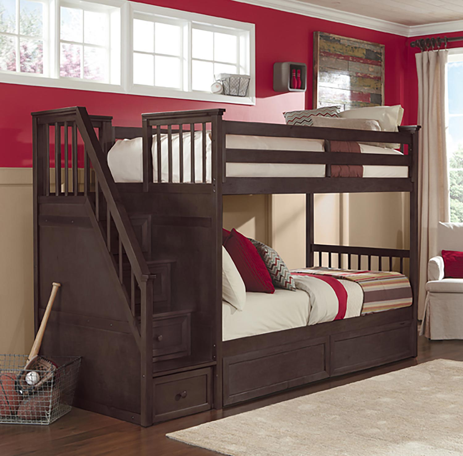 NE Kids School House Stair Bunk Bed with Storage - Chocolate Finish