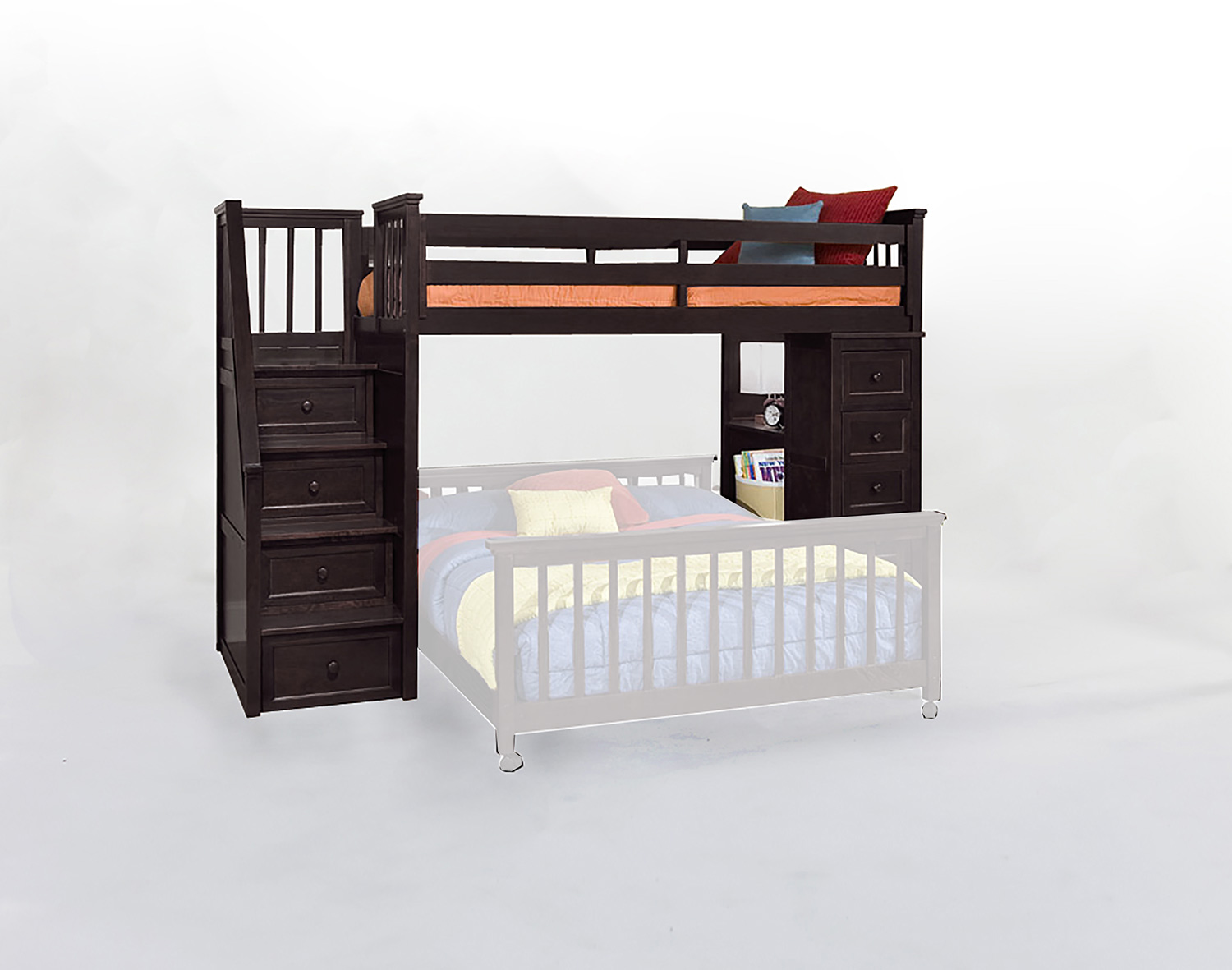 NE Kids SchoolHouse Stair Loft Bed with Chest End - Chocolate