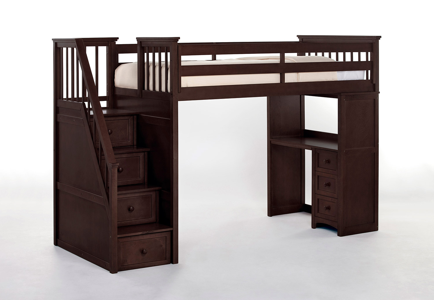 NE Kids SchoolHouse Stair Loft Bed with Desk End - Chocolate