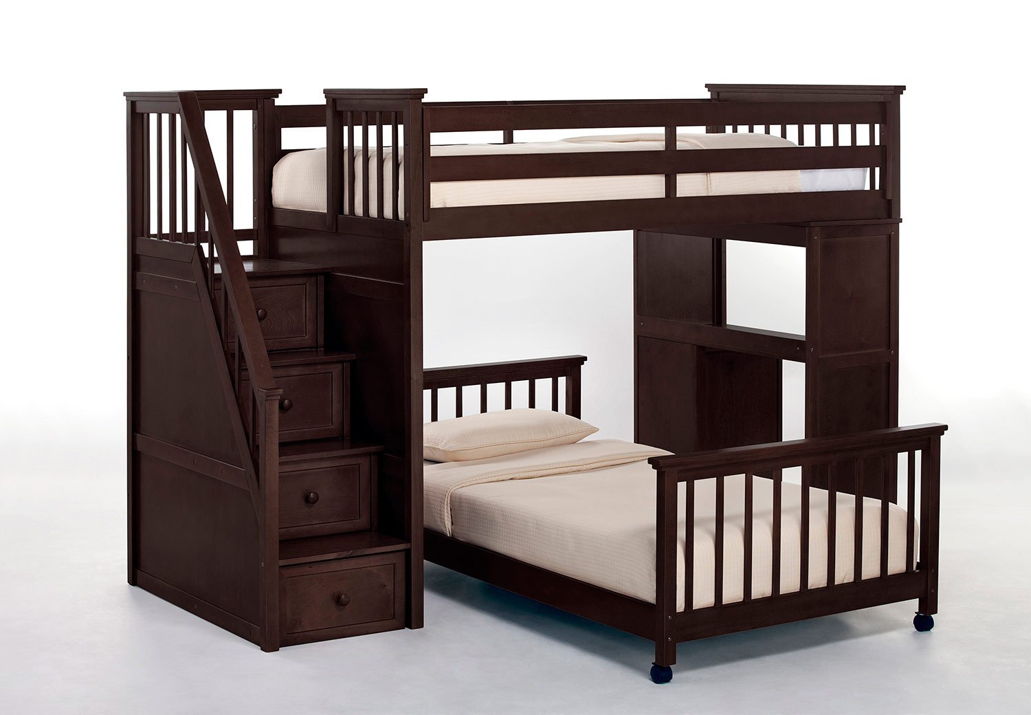 NE Kids SchoolHouse Twin Stair Loft Bed with Desk End and Twin Lower Bed - Chocolate