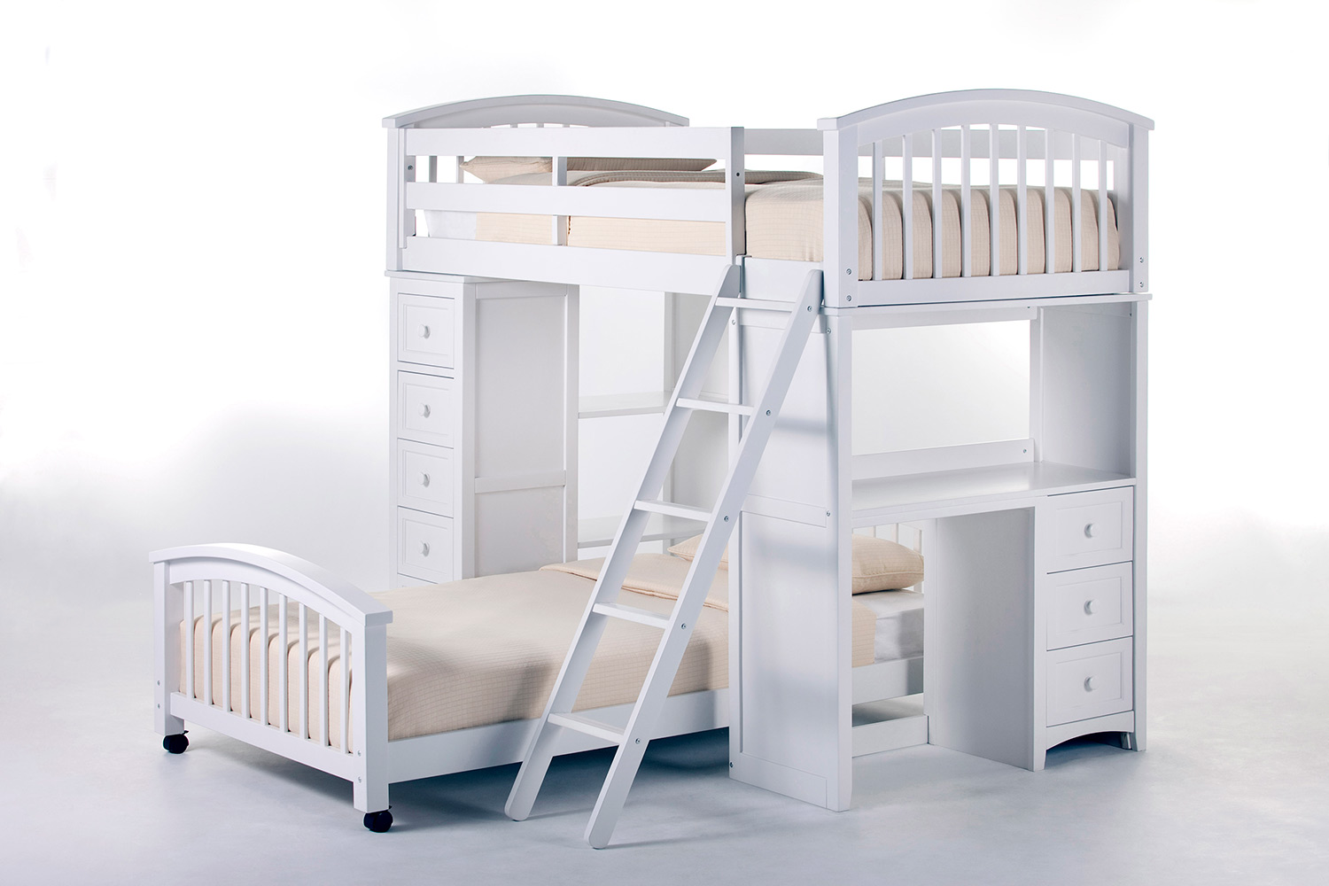 NE Kids School House Student Loft Bed with Twin Lower Bed - White