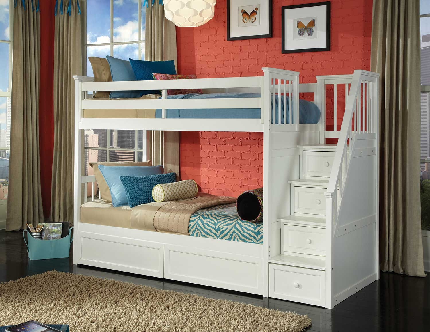 NE Kids School House Stair Bunk Bed with Storage - White Finish
