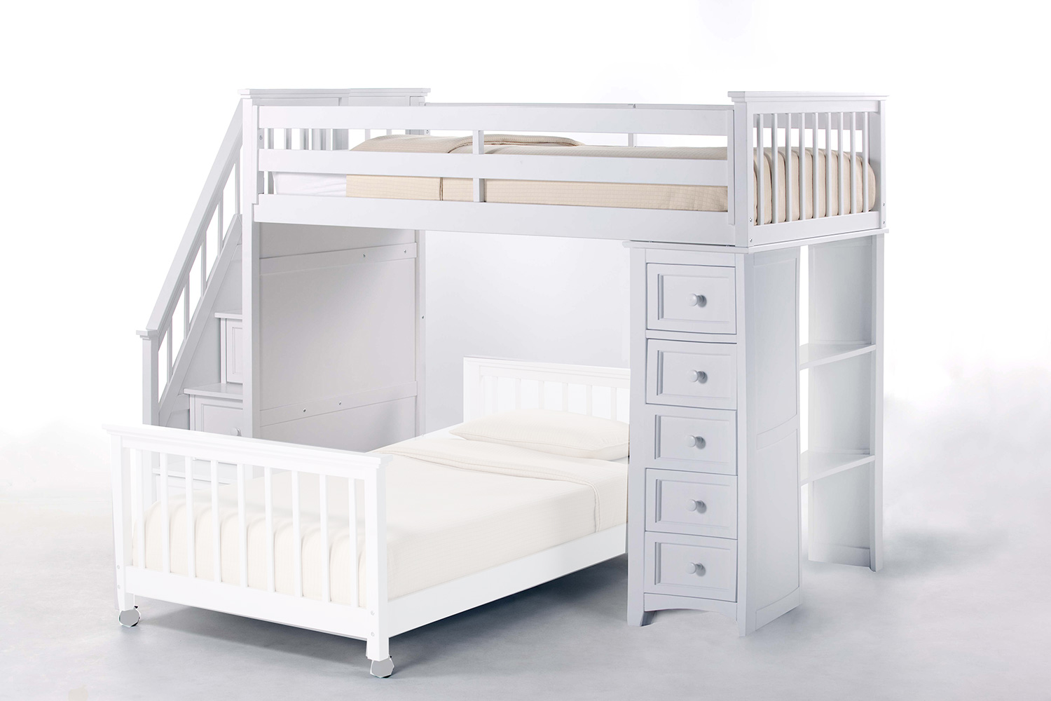NE Kids School House Stair Loft Bed with Chest End - White