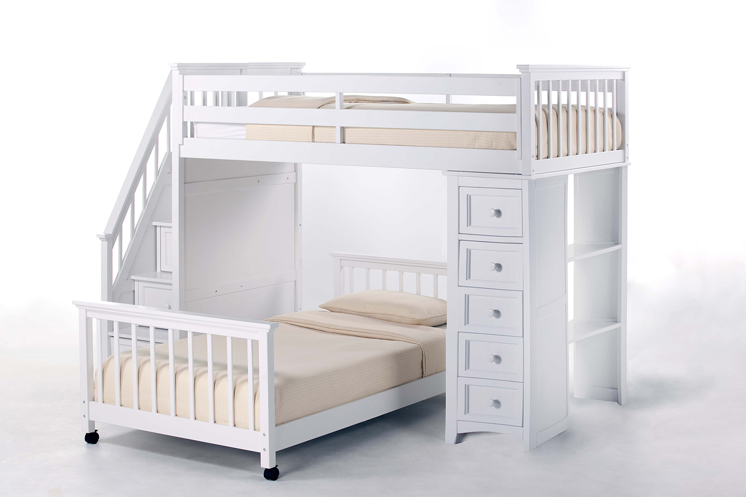 NE Kids SchoolHouse Twin Stair Loft Bed with Chest End and Twin Lower Bed - White