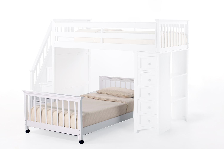 NE Kids SchoolHouse Twin Lower Stair Bed - White