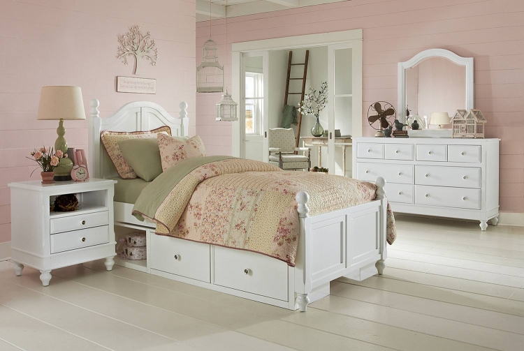 Lake House Payton Arch Bedroom Set With Storage - White
