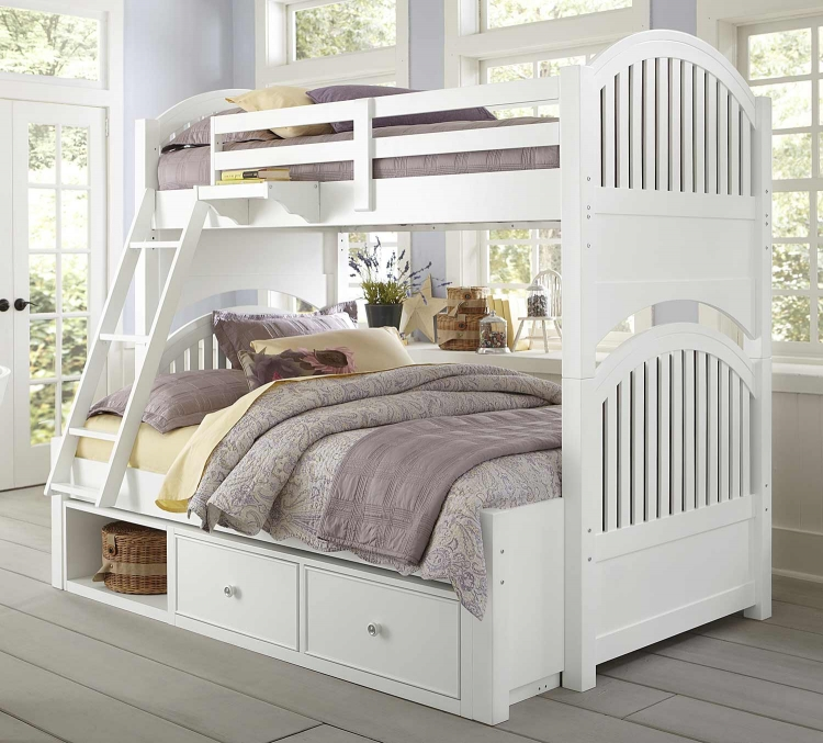 Lake House Adrian Twin Over Full Bunk With Storage - White