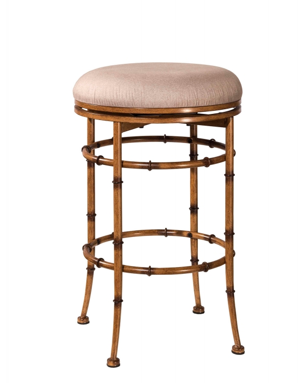 Reed Backless Swivel Counter Stool - Burnished Brown