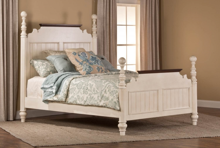 Pine Island Post King Size Bed - Old White