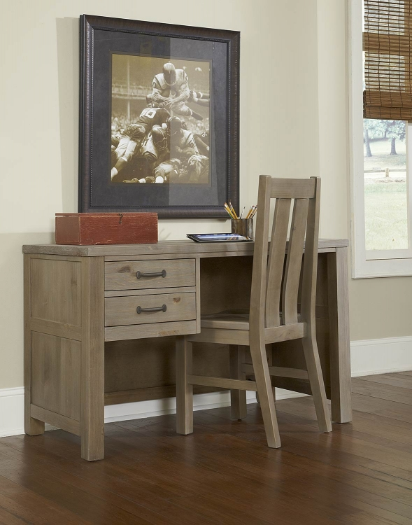 Highlands Desk with Chair - Driftwood