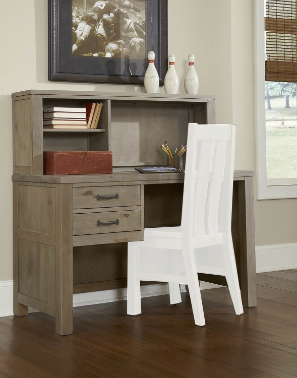 Highlands Desk with Hutch - Driftwood