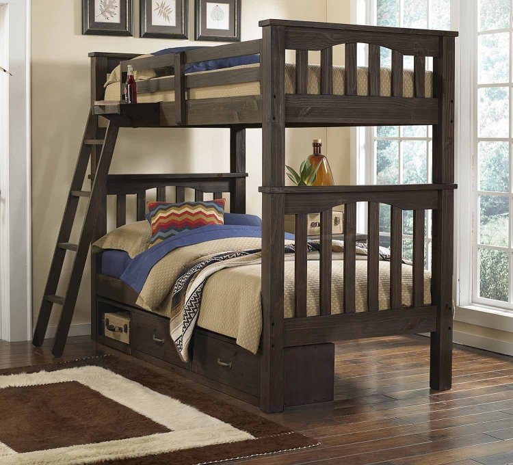 Highlands Harper Twin Over Twin Bunk With Storage - Espresso