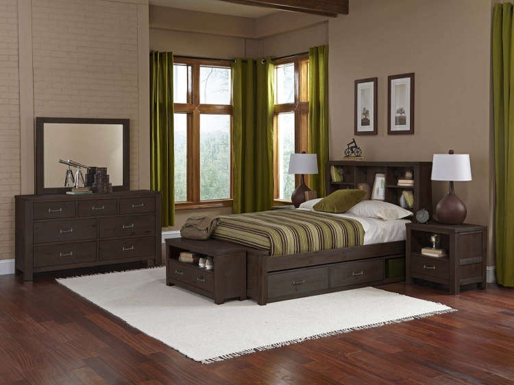 Highlands Bookcase Bedroom Set With Storage - Espresso