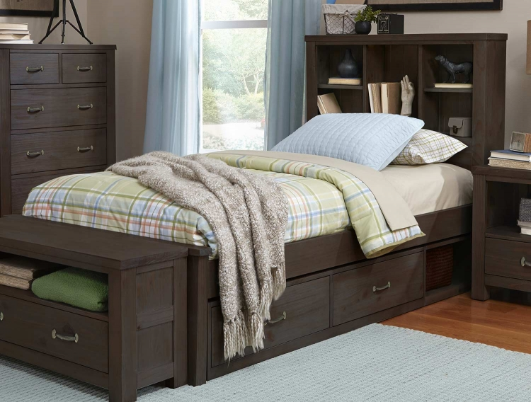 Highlands Bookcase Bed With Storage - Espresso