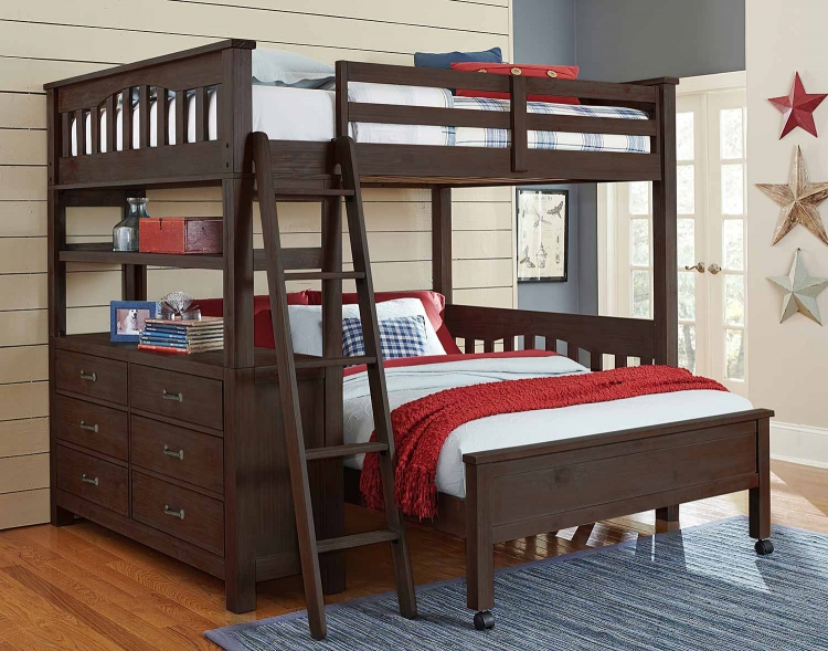 Highlands Loft Bed with Full Lower Bed - Espresso