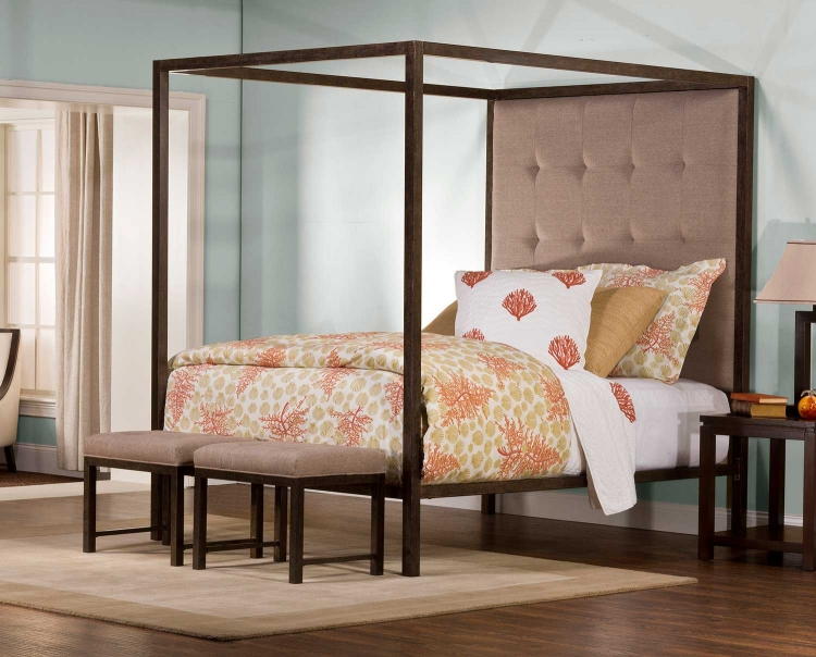 King's Way Canopy Bed - Aged Steel - Oatmeal Linen