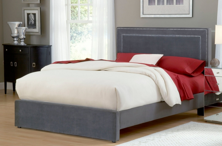 Amber Fabric Bed - Pewter