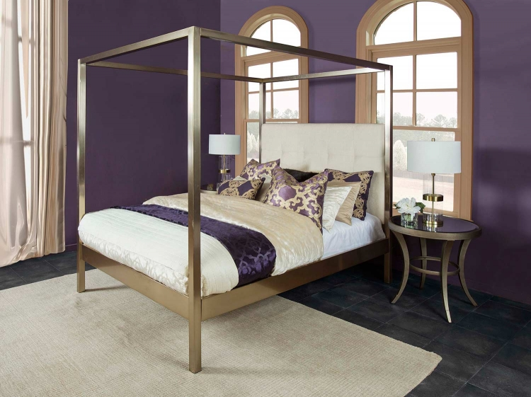 Avalon Upholstered Bed - Champagne Brass - Oyster Fabric