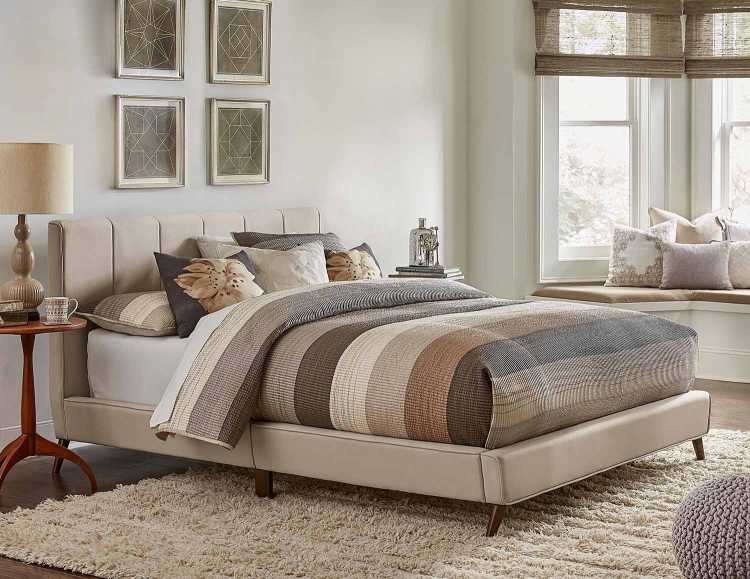 Aussie Upholstered Bed Fog Fabric