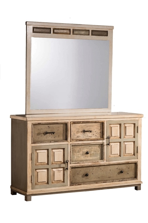 LaRose Dresser with Mirror - Rustic White/Gray