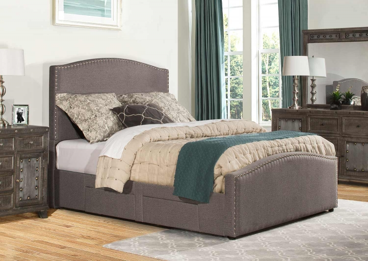 Kerstein Adjustable Storage Bed - Orly Gray Fabric