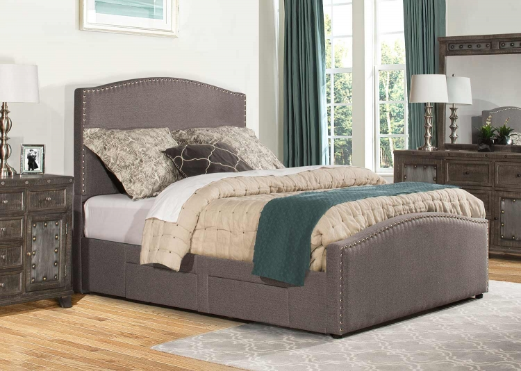Kerstein Storage King Bed - Orly Gray Fabric