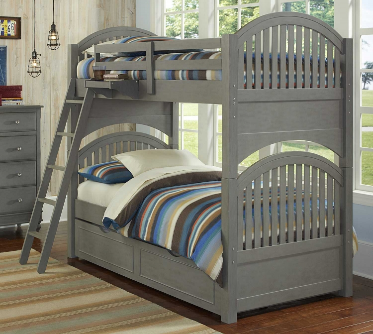 Lake House Adrain Twin Over Twin Bunk With Trundle - Stone