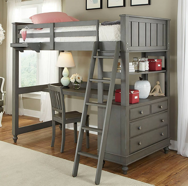 Lake House Loft Bed with Desk - Stone