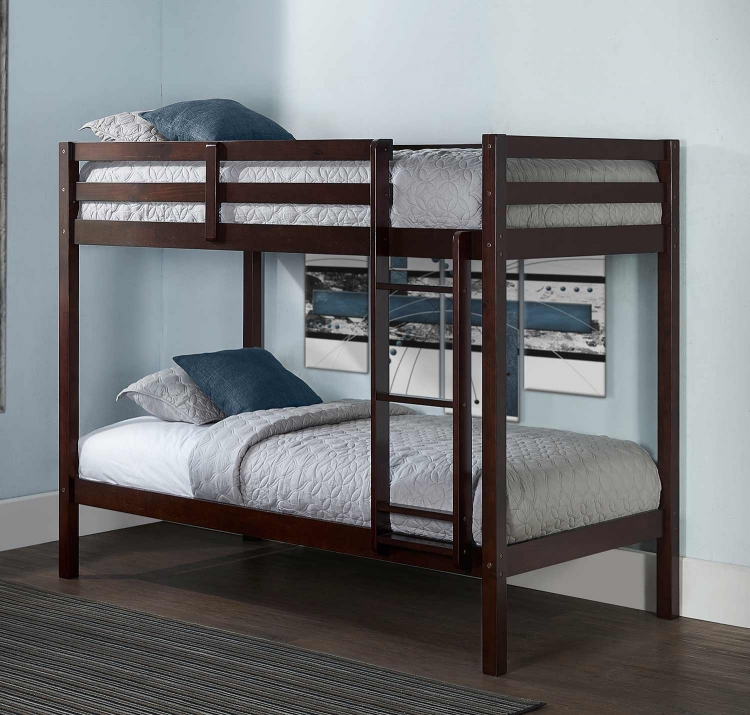 Caspain Twin Over Twin Bunk Bed - Chocolate