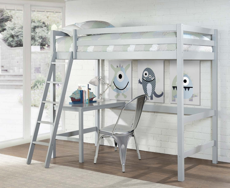 Caspian Twin Study Loft Bed With Chair - Gray