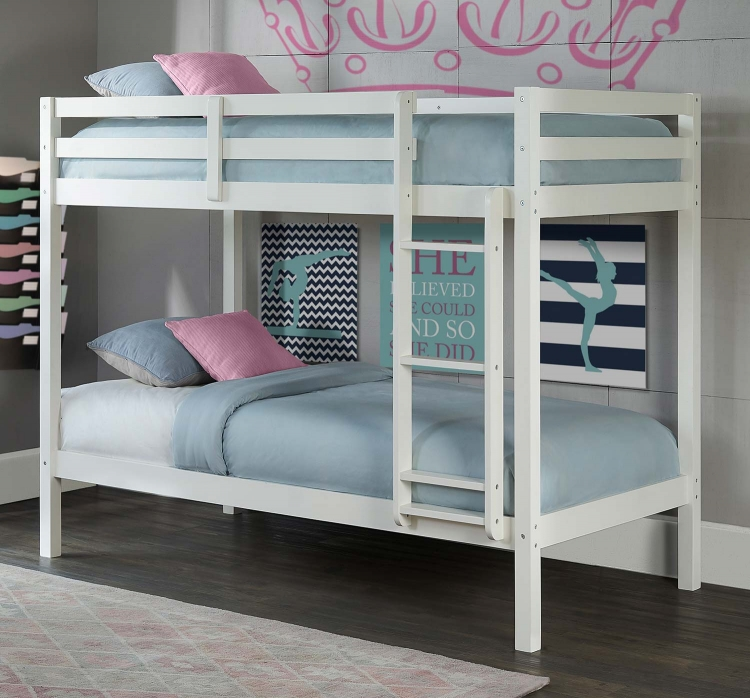 Caspian Twin Over Twin Bunk Bed - White