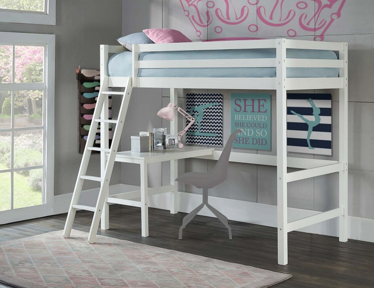 Caspian Twin Study Loft Bed - White
