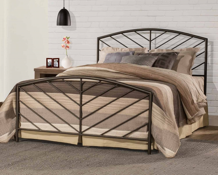 Essex Metal Bed with Frame - Speckled Pewter