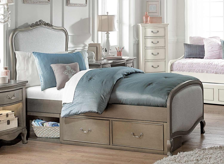Kensington Charlotte Upholstered Panel Bed With Storage - Antique Silver