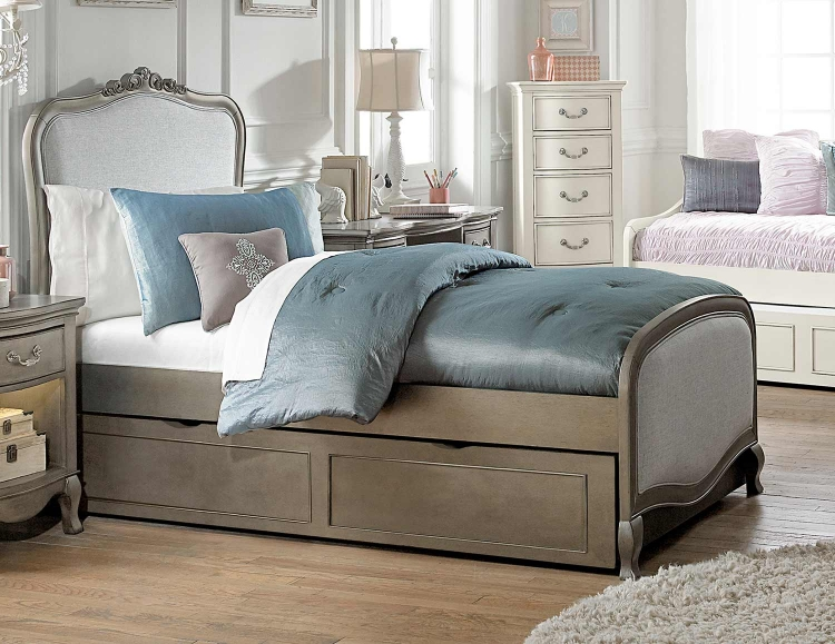 Kensington Charlotte Upholstered Panel Bed With Trundle - Antique Silver