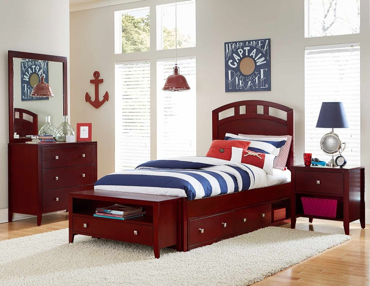 Pulse Arch Bedroom Set With Storage - Cherry