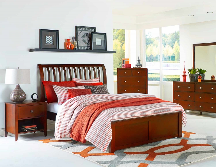 Pulse Rake Sleigh Bedroom Set - Cherry