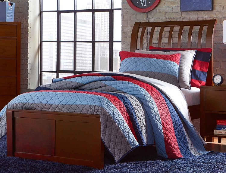 Pulse Rake Sleigh Bed - Cherry