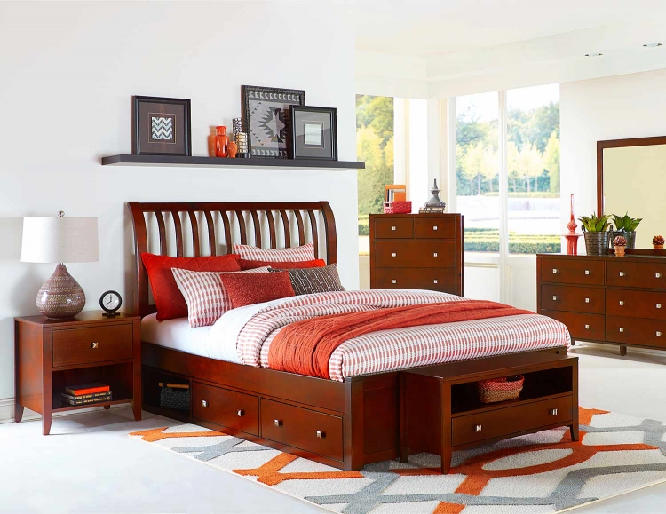 Pulse Rake Sleigh Bedroom Set With Storage - Cherry