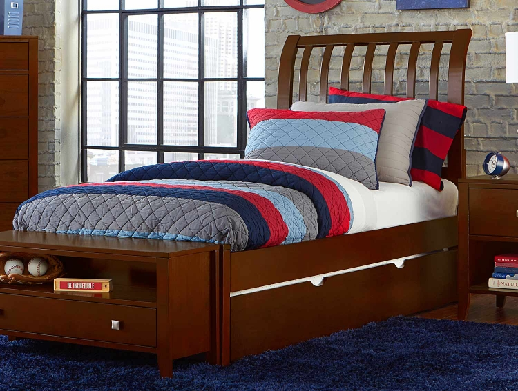 Pulse Rake Sleigh Bed With Trundle - Cherry