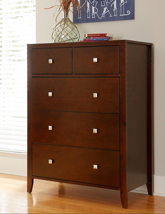 Pulse 5 Drawer Chest - Cherry