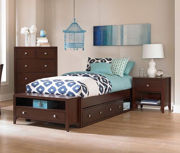 Pulse Platform Bedroom Set With Storage - Chocolate