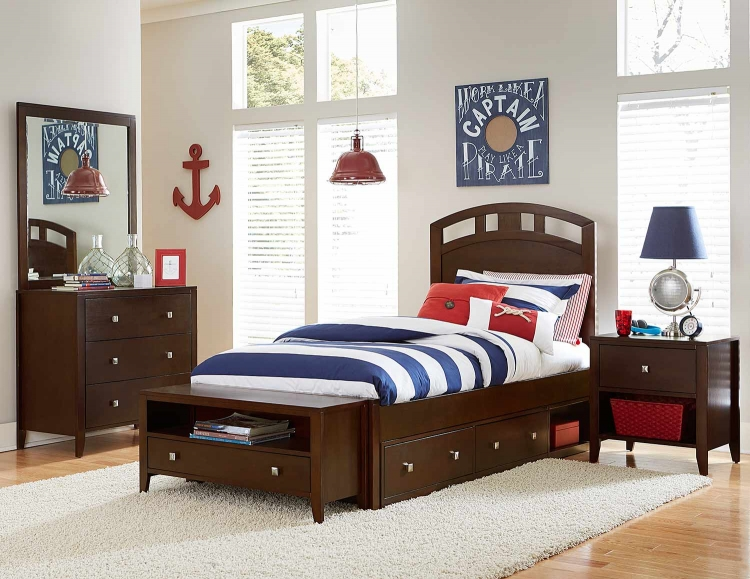 Pulse Arch Bedroom Set With Storage - Chocolate