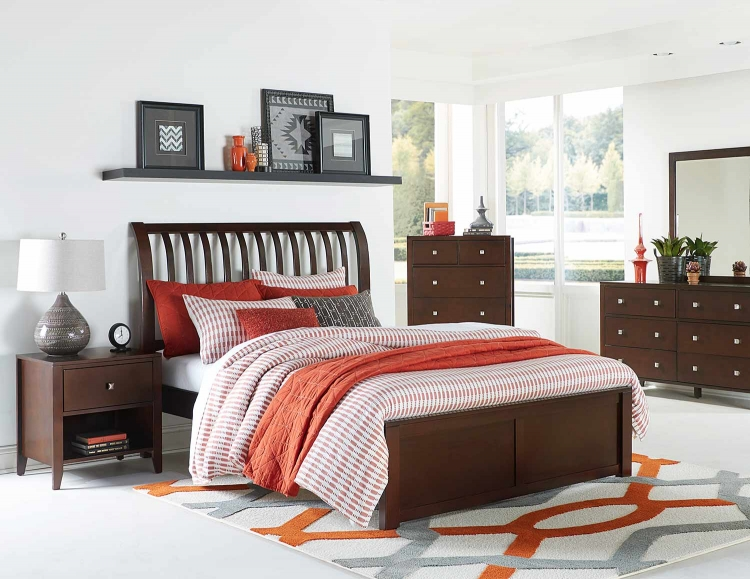 Pulse Rake Sleigh Bedroom Set - Chocolate