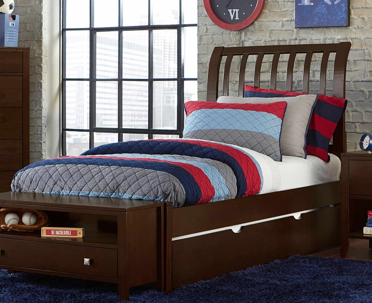 Pulse Rake Sleigh Bed With Trundle - Chocolate