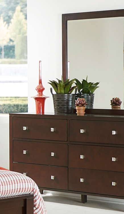 Pulse 6 Drawer Dresser And Mirror - Chocolate