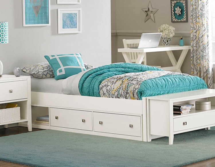 Pulse Platform Bed With Storage - White