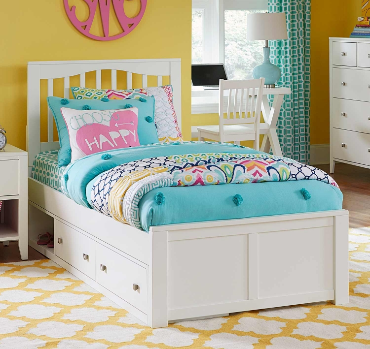 Pulse Mission Bed With Storage - White