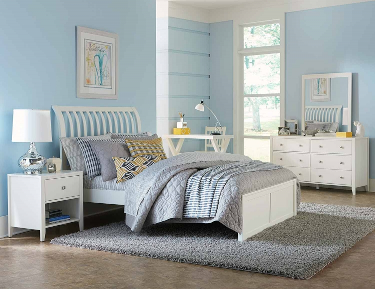 Pulse Rake Sleigh Bedroom Set - White