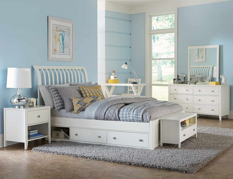 Pulse Rake Sleigh Bedroom Set With Storage - White